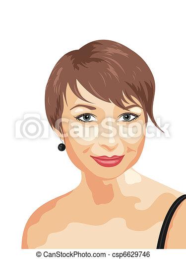 portret, fotografia, uśmiechnięta dziewczyna, realistyczny - csp6629746