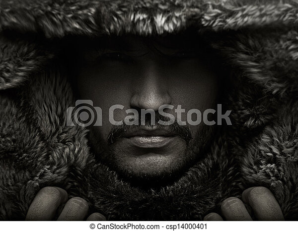 portret, futro, młody, kaptur, człowiek - csp14000401