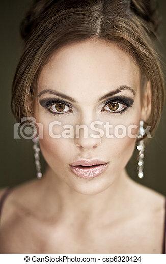 portret, kobieta, młody, ładny - csp6320424