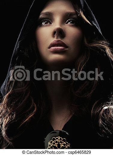 portret, kobieta, młody, kaptur - csp6465829