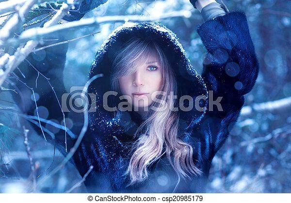 portret, kobieta, młody, zima - csp20985179