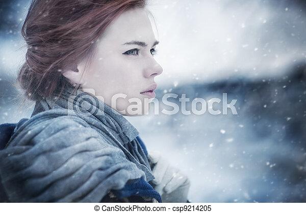 portret, kobieta, młody, zima - csp9214205