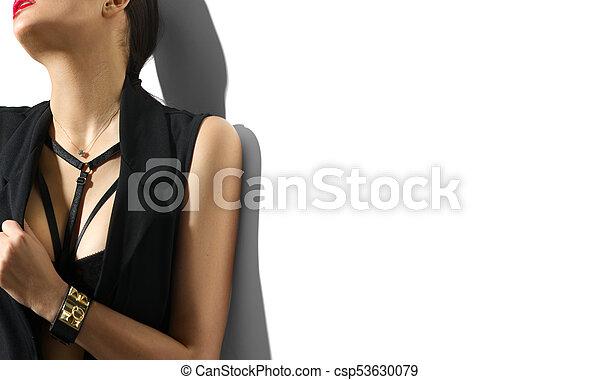 portret, młody, białe tło, odzież, czarnoskóry, odizolowany, kobieta, sexy - csp53630079
