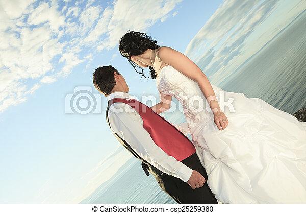 portret, para, sztuka, delikatny, ślub - csp25259380