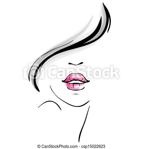 portret, rys, kobieta, młody, ładny - csp15022623