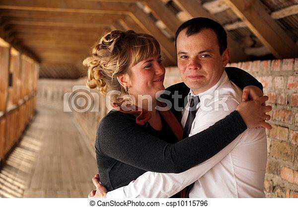 portret, szczęśliwa para, młody - csp10115796