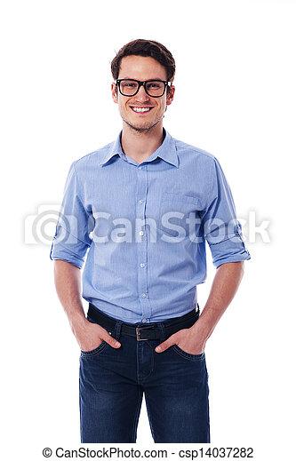 portret, uśmiechanie się, przystojny, człowiek - csp14037282