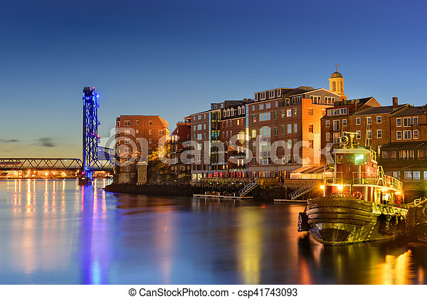 Hampshire Piscataqua On River Portsmouth The Skyline Usa Town New