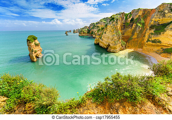(portugal), 田園詩, 拉各斯, algarve, 海灘, 風景 - csp17955455