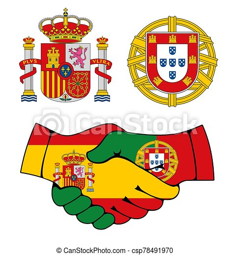 Portugal and Spain coat of arms, handshake - csp78491970