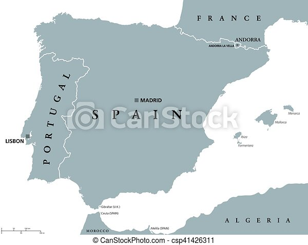 portugal and spain political map with capitals lisbon and madrid balearic islands and national borders gray illustration of iberian peninsula with english