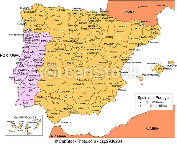 Mapa Espanha E Portugal.Portugal Distritos Administrativo Espanha Cercar Paises Cor Andorra Predios Baixo Graficos Distrito Grande