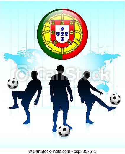 54105a4ffa7 Portugal flag icon on internet button with soccer team original ...