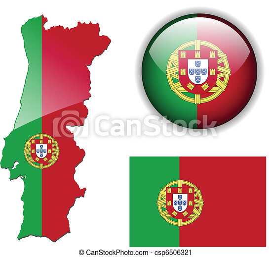Vector Clip Art Of Portugal Flag Map And Glossy Butto Portugal - Portugal map icon