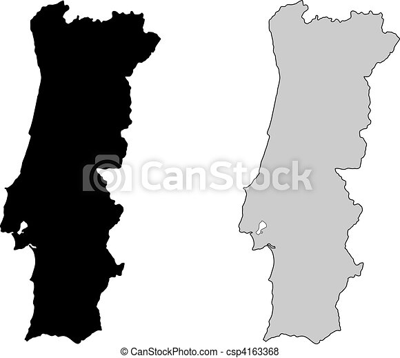 Vector Of Portugal Map Black And White Mercator Projection - Portugal map icon