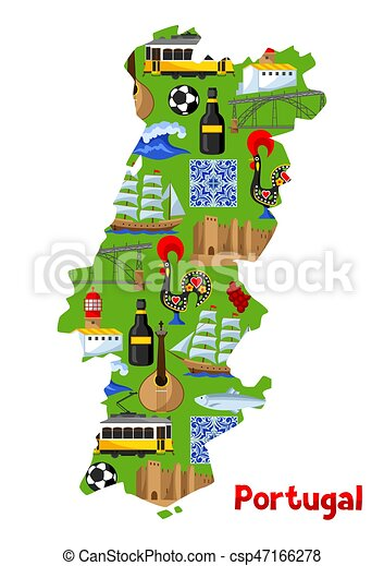 Portugal Map Portuguese National Traditional Symbols And