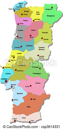 Vector Clip Art Of Portugal Map Over White Csp Search - Portugal map vector
