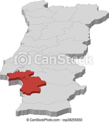 Mapa Portugal Setubal 3d Illustracion Mapa De Portugal Como