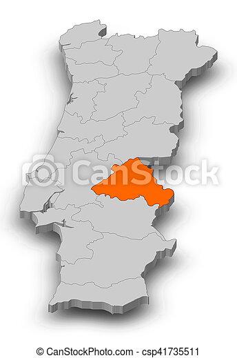 Portugal Mapa 3d Illustration Portalegre Mapa Portugal