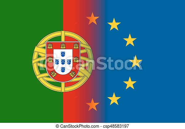 Portugal National Flag With A Star Circle Of Eu Portugal National