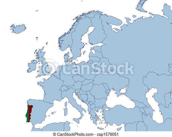 Portugal On Europe Map Illustration