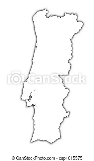 Portugal outline map with shadow detailed mercator - Dessin du portugal ...