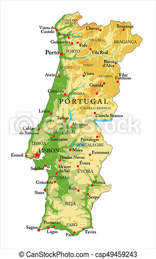Portugal Relief Map Highly Detailed Physical Map Of Portugal In