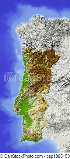 Cartina Del Portogallo Muta.Portugal Shaded Relief Map Portugal Shaded Relief Map Surrounding Territory Greyed Out Colored According To Elevation Canstock