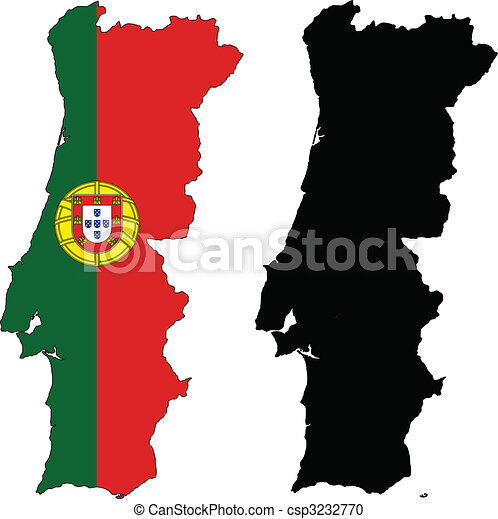 Vector Clipart Of Portugal Vector Map And Flag Of Portugal With - Portugal map flag
