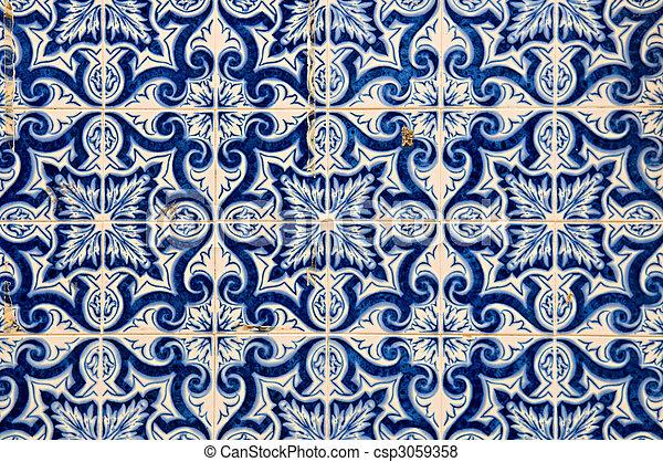 Portugiesisch Fliesenmuster Gemalt Muster Abstrakt Entwurfe