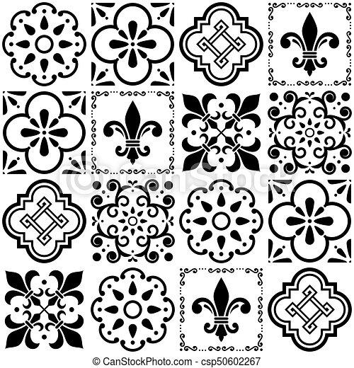 Portugiesisch Fliesenmuster Weinlese Seamless Muster Azulejos