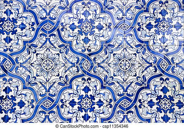 Tejas portuguesas, azulejos - csp11354346