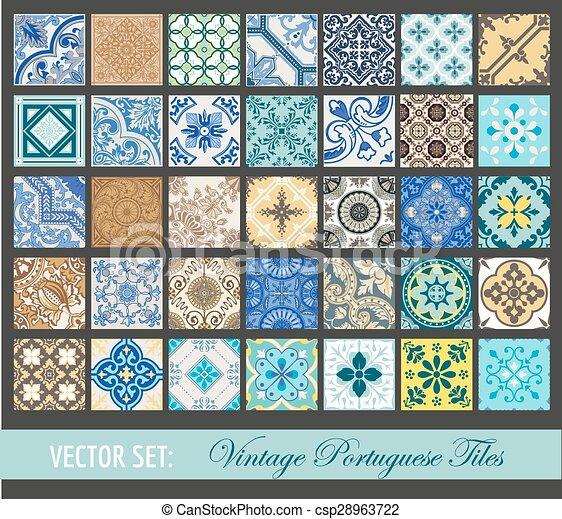 Colección de azulejos vintage sin costura, azulejos portugueses, en vector - csp28963722