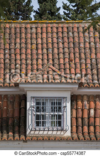 Portuguese red tile roof - csp55774387