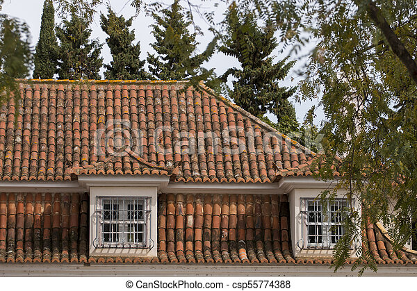 Portuguese red tile roof - csp55774388