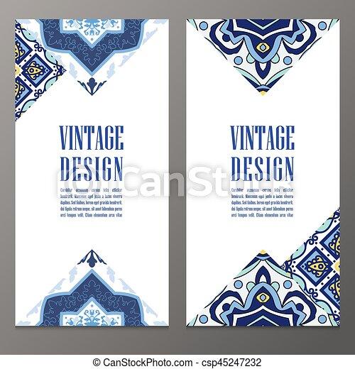Portuguese Tiles Banner For Business Invitation Card