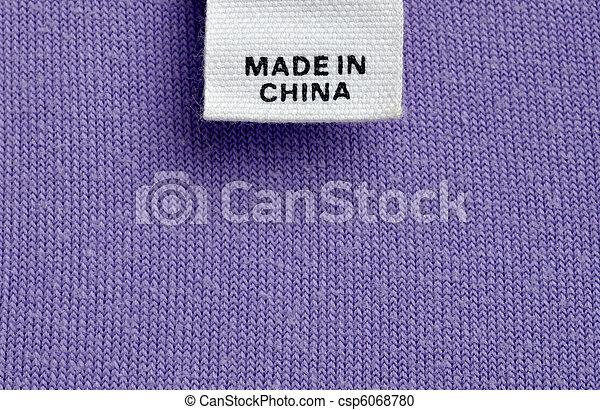 porzellan, kleidung, gemacht, billig, etikett - csp6068780