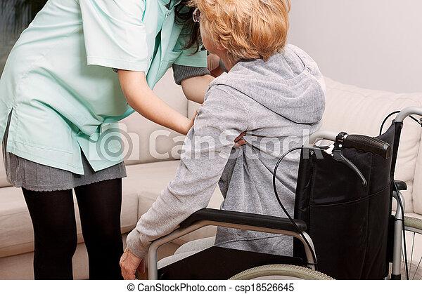 porzione, invalido, infermiera, donna - csp18526645