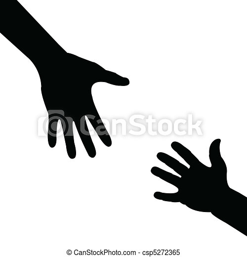 porzione, silhouette, mano - csp5272365
