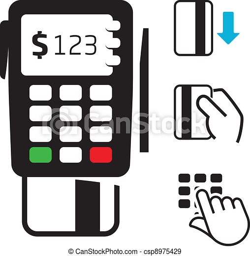 pos terminal and credit card icons