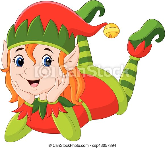 posa, ragazza, elfo, cartone animato, pavimento - csp43057394