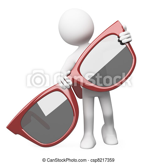 Hombre posando con gafas de sol rojas - csp8217359