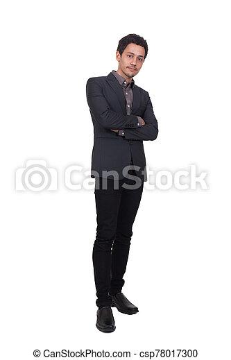 posar, hombre, plano de fondo, aislado, guapo, joven, traje - csp78017300
