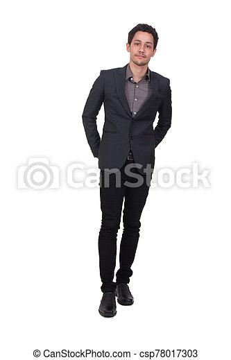 posar, hombre, plano de fondo, aislado, guapo, joven, traje - csp78017303