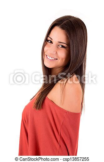 posar, mulher, bonito - csp13857255