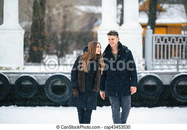 posar, par, parque, nevado - csp43453530
