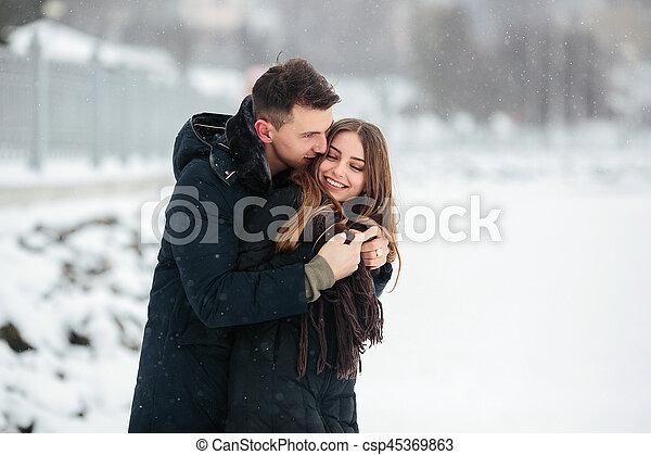 posar, par, parque, nevado - csp45369863
