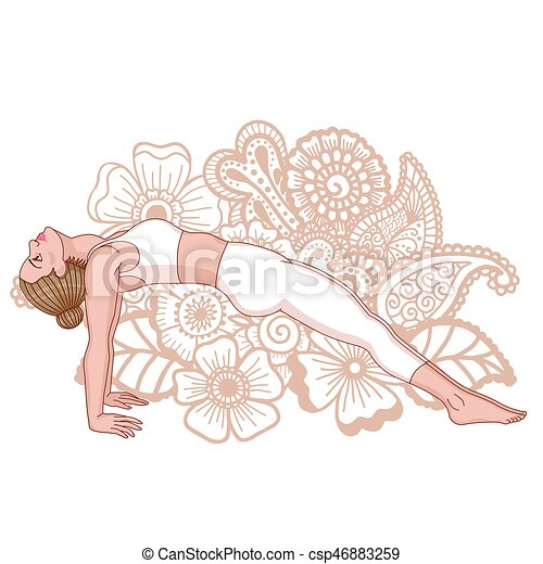 pose., purvottanasana., silhouette., kobiety, deska, zwyżkowy - csp46883259