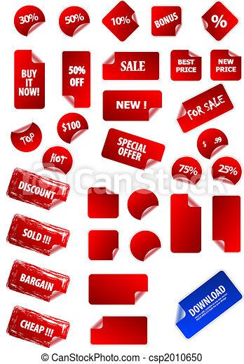 Gran colección de etiquetas de precios pegajosos para marketing y publicidad. Fácil de editar, de cualquier tamaño. Aqua Web 2.0, grunge, retro. Perfecto para su propio texto y diseño. - csp2010650