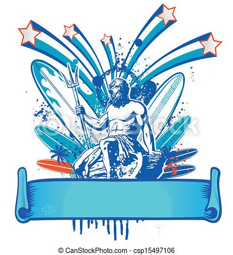 poseidon, bandeira, surfista - csp15497106